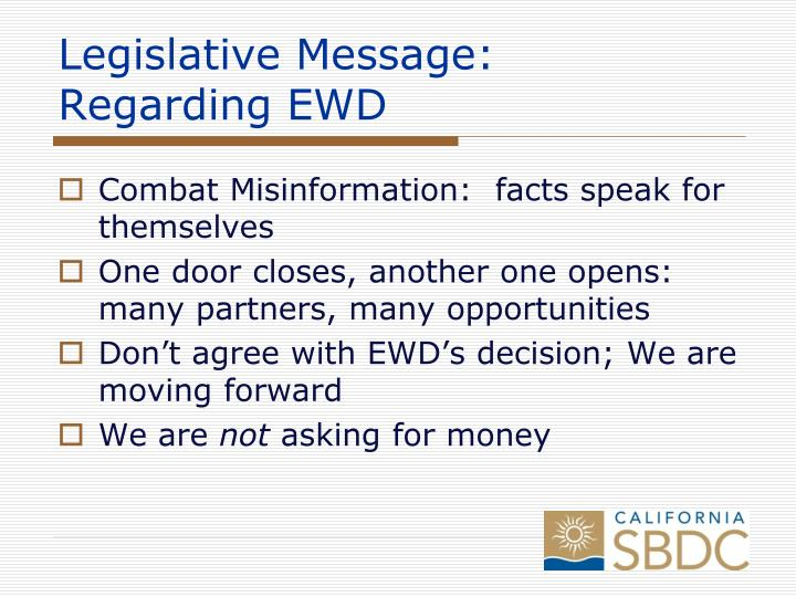 Legislative Message:
