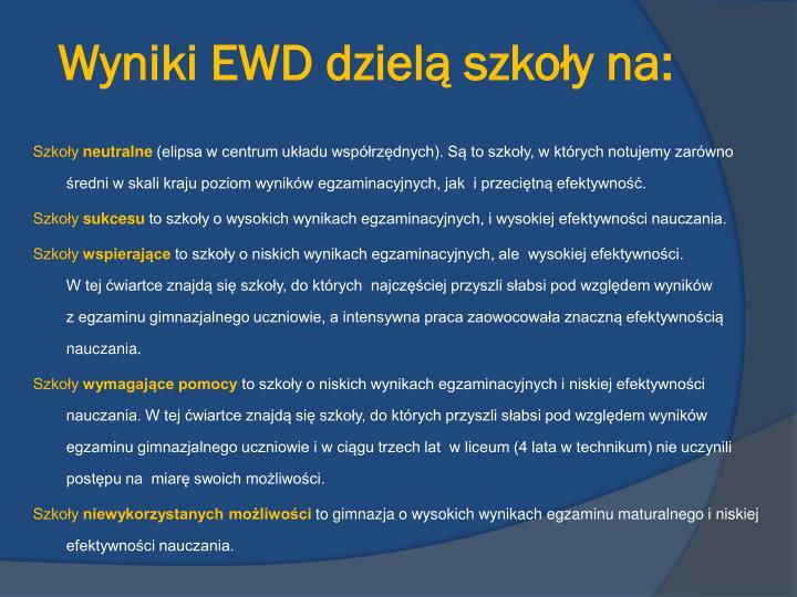 Wyniki EWD dzielą szkoły na: