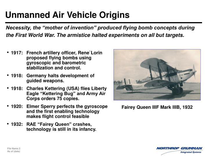 Unmanned Air Vehicle Origins