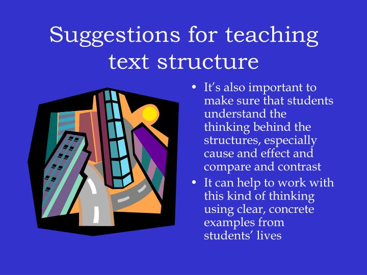 Suggestions for teaching text structure