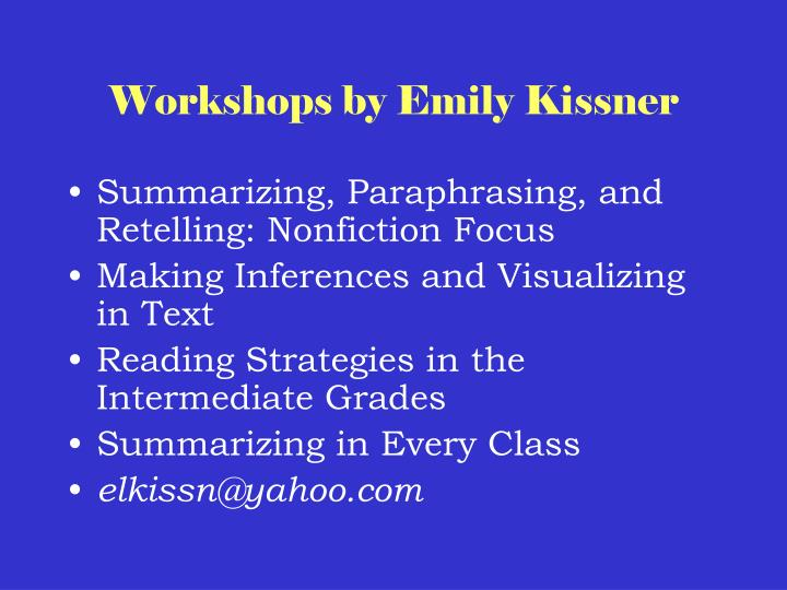 Workshops by Emily Kissner