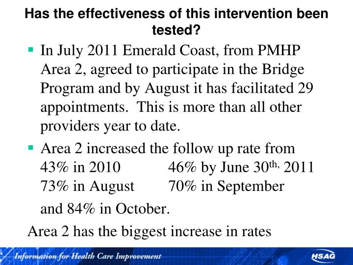 Has the effectiveness of this intervention been tested?