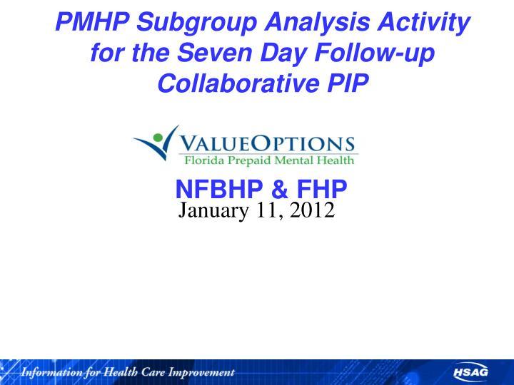 PMHP Subgroup Analysis Activity