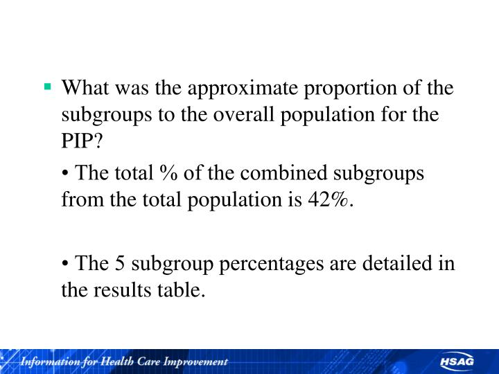 What was the approximate proportion of the subgroups to the overall population for the PIP?