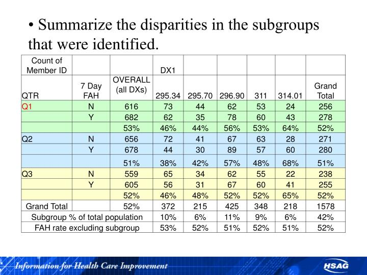 • Summarize the disparities in the subgroups that were identified.