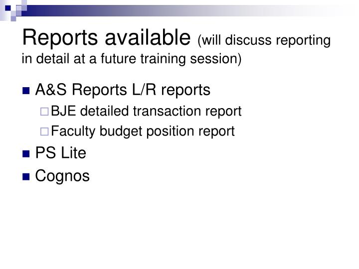 Reports available