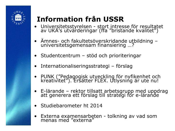Information från USSR