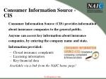 consumer information source cis