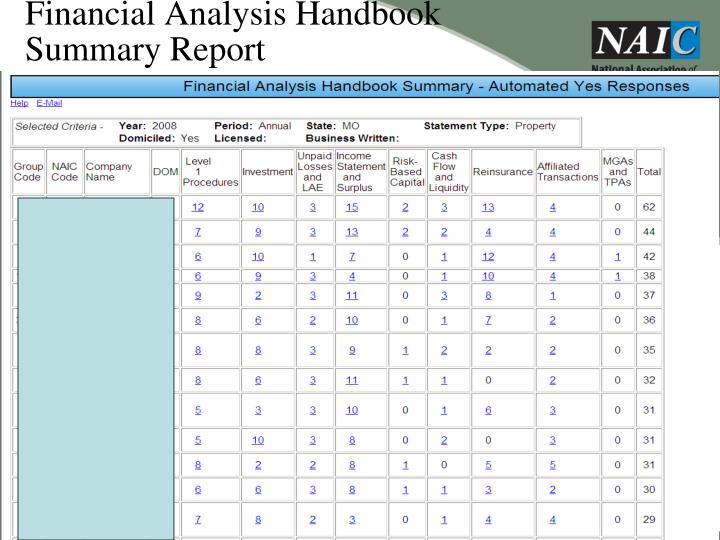 Financial Analysis Handbook Summary Report