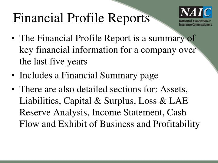 Financial Profile Reports