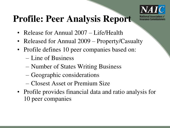 Profile: Peer Analysis Report