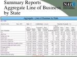 summary reports aggregate line of business by state