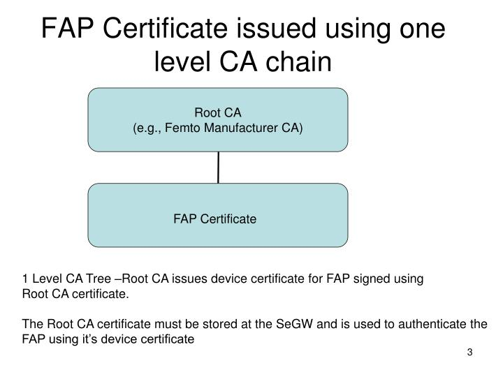 Fap certificate issued using one level ca chain