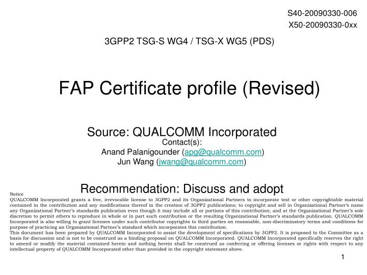 Fap certificate profile revised