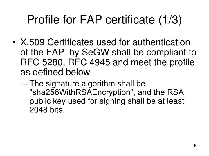 Profile for FAP certificate (1/3)