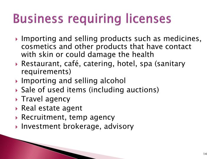 Business requiring licenses
