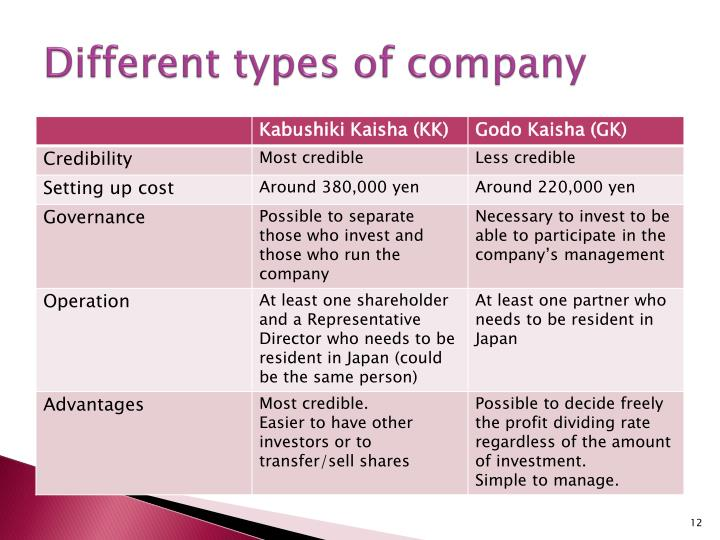 Different types of company