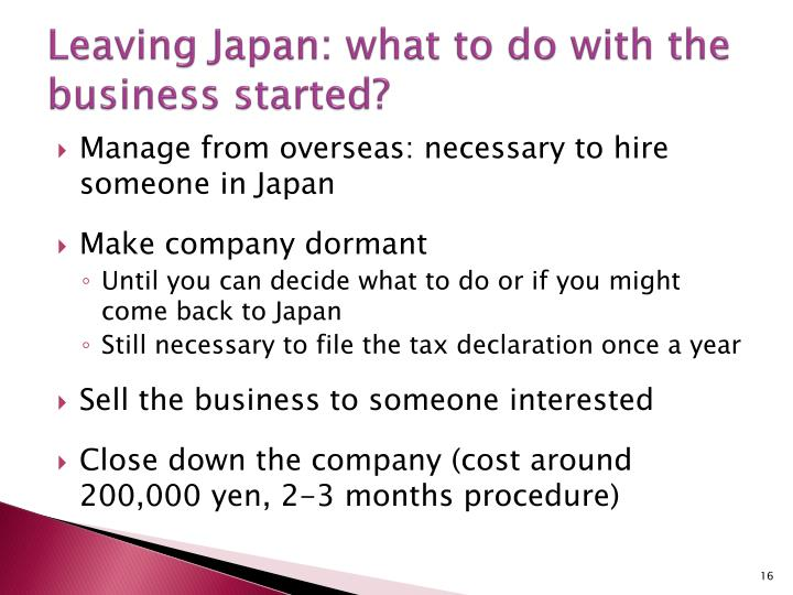 Leaving Japan: what to do with the business started?