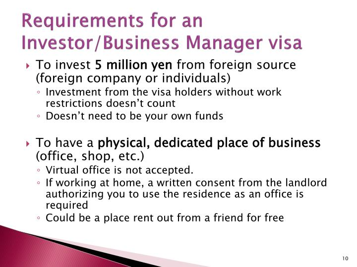 Requirements for an Investor/Business Manager visa