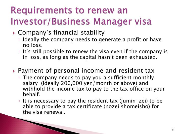 Requirements to renew an Investor/Business Manager visa