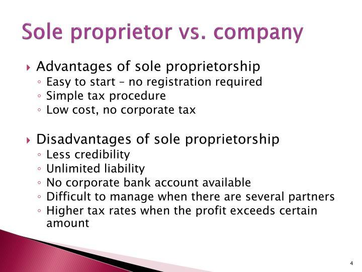Sole proprietor vs. company