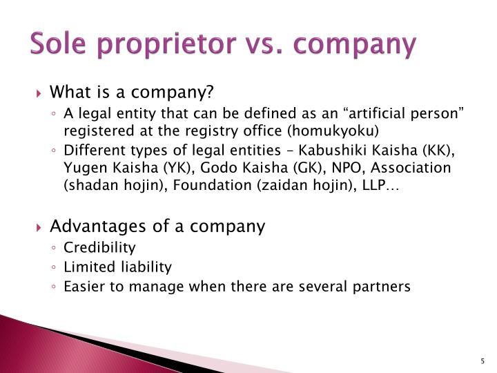 Sole proprietor vs. company