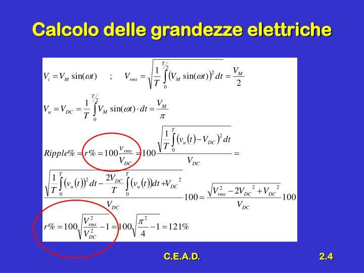 Calcolo delle grandezze elettriche