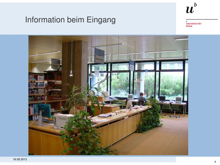 Information beim Eingang
