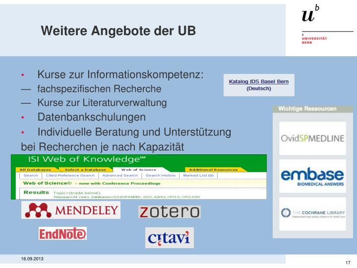 Weitere Angebote der UB