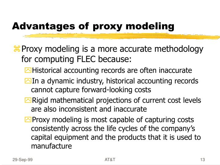 Advantages of proxy modeling