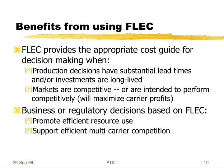 Benefits from using FLEC