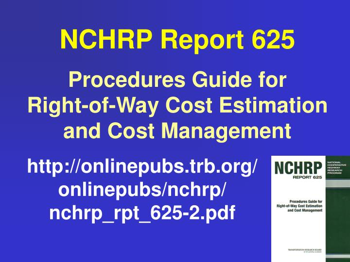 NCHRP Report 625