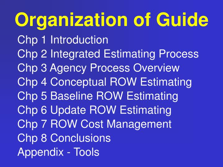 Organization of Guide
