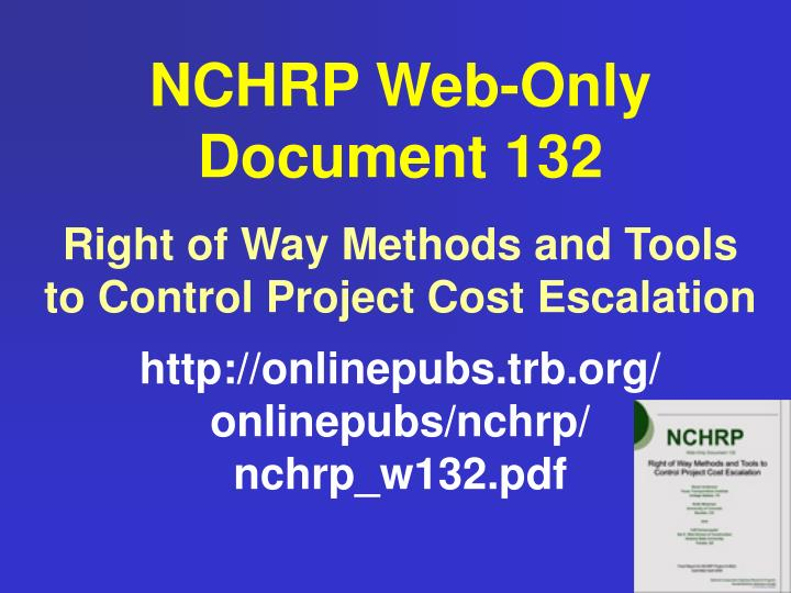 NCHRP Web-Only Document 132