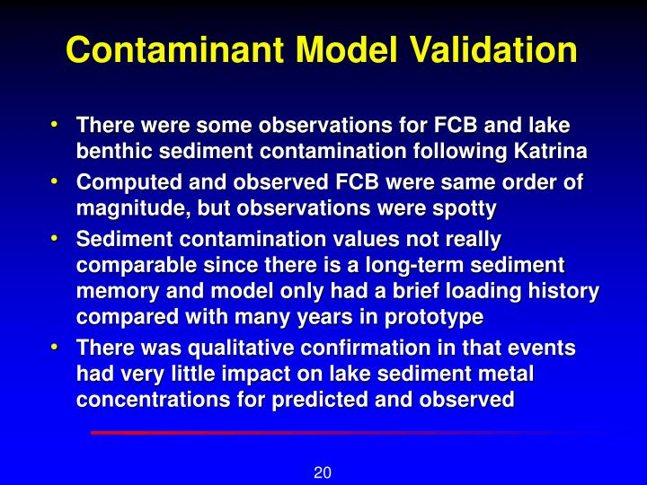 Contaminant Model Validation