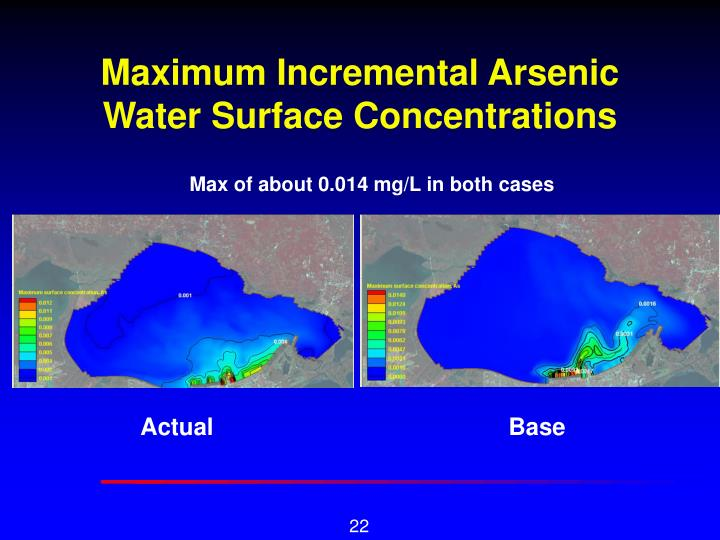 Maximum Incremental Arsenic Water Surface Concentrations