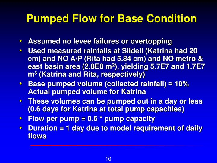 Pumped Flow for Base Condition