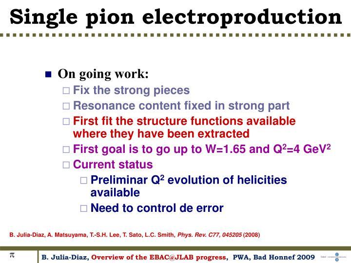 Single pion electroproduction
