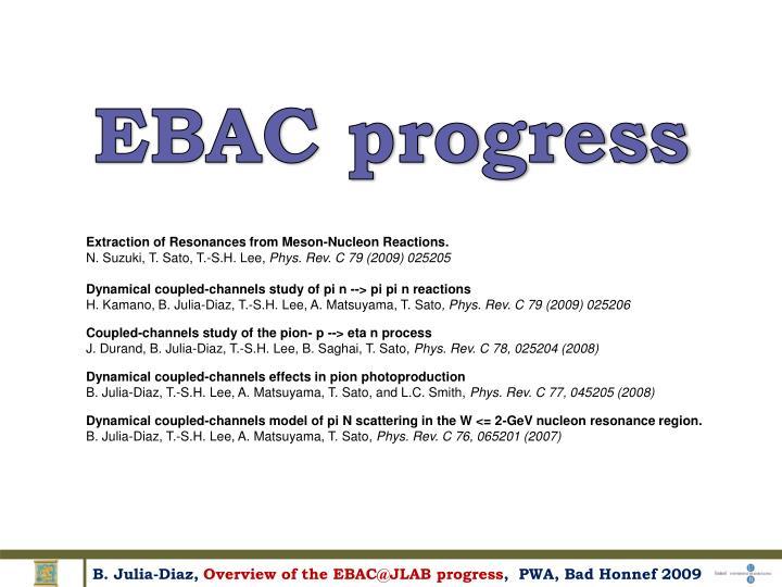 EBAC progress