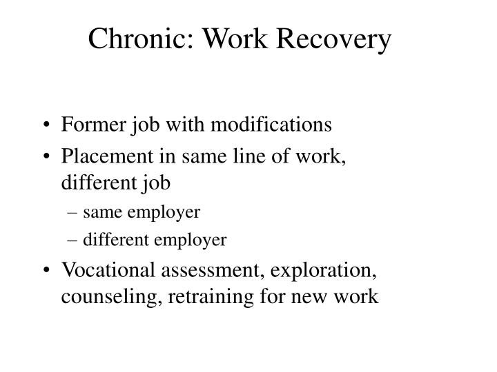 Chronic: Work Recovery