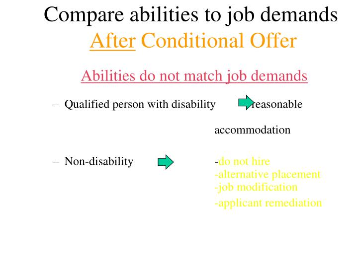 Compare abilities to job demands
