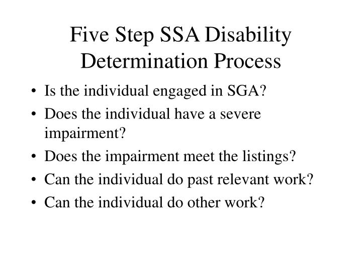 Five Step SSA Disability Determination Process