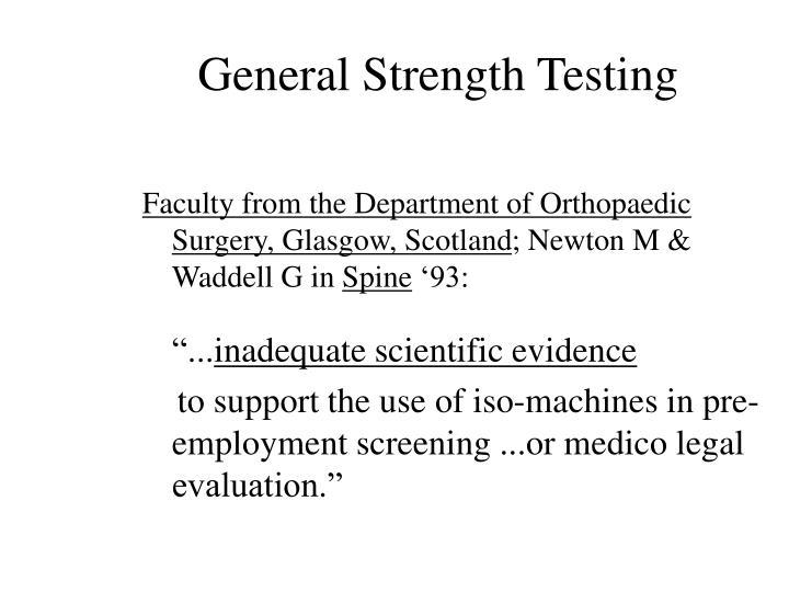 General Strength Testing