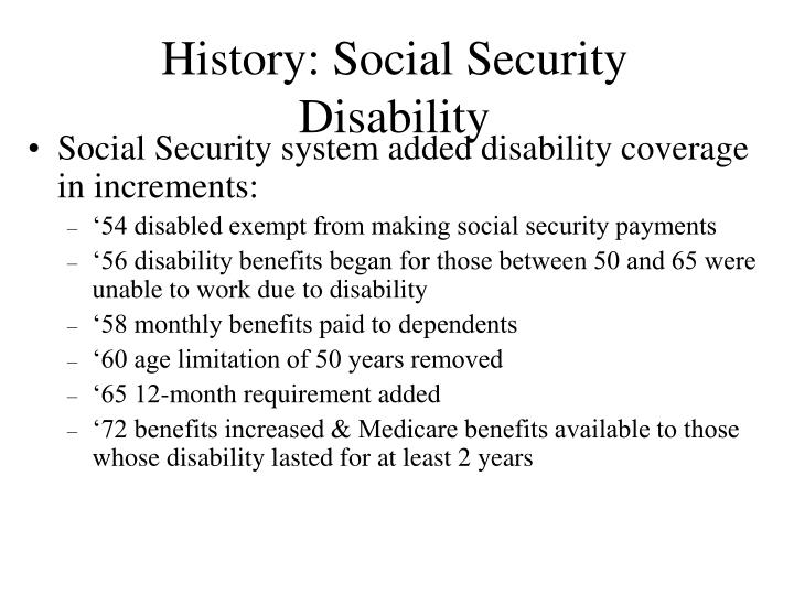 History: Social Security Disability