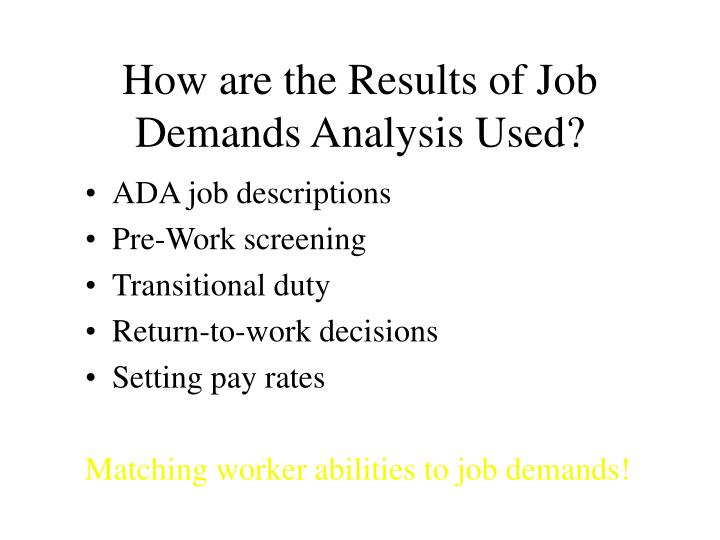 How are the Results of Job Demands Analysis Used?