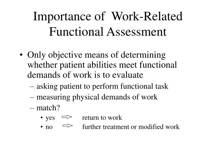 Importance of  Work-Related Functional Assessment
