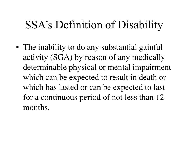 SSA's Definition of Disability