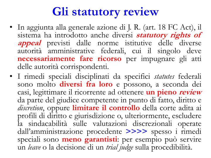 Gli statutory review
