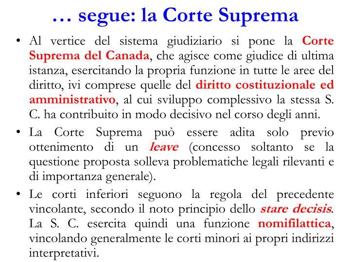 … segue: la Corte Suprema