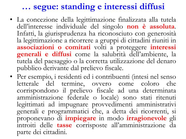 … segue: standing e interessi diffusi